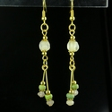 Earrings with Roman green and semi-translucent glass beads
