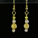Earrings with Roman yellow and semi-translucent glass beads