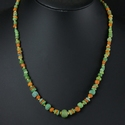 Necklace with Roman green and orange glass beads