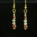 Earrings with Roman red and semi-translucent glass beads