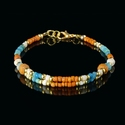 Bracelet with Roman orange, turquoise glass and shell beads