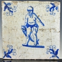Dutch Delft blue and white tile, fisherman