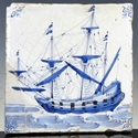 Dutch Delft blue and white tile, sailing ship