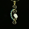 Pendant with Roman turquoise and white glass beads