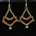 Earrings with Roman orange and green glass beads