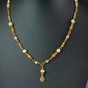 Necklace with Roman orange, yellow glass and faience beads