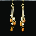 Earrings with Roman orange glass and shell beads
