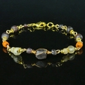 Bracelet with Roman purple, semi-translucent, orange glass