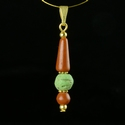 Pendant with Roman red and green glass beads