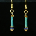 Earrings with Egyptian faience and lapis lazuli beads
