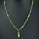 Necklace with Roman green and semi-translucent glass beads