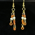 Earrings with Roman orange and white glass beads