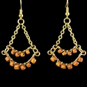 Earrings with Roman wire-wrapped orange glass beads