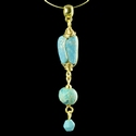 Pendant with Roman wire-wrapped turquoise glass beads