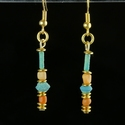 Earrings with Egyptian faience and coral beads