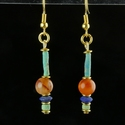 Earrings with Egyptian faience, carnelian and Lapis beads
