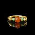 Ring with Egyptian wire-wrapped faience and carnelian beads