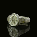 Medieval bronze seal ring, capital letter D