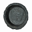 Medieval pewter toy plate with armorial shield Lion Rampant