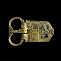 Medieval brass decorated buckle