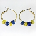 Earrings with Roman blue and yellow glass beads