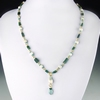 Necklace with Roman green & turquoise glass and shell beads