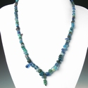 Necklace with Roman blue glass beads, bronze wire pendant