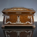 England, Regency mother-of-pearl inlaid rosewood tea caddy
