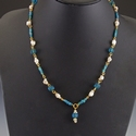 Necklace with Roman turquoise glass, shell and melon beads