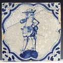Dutch Delft blue and white tile with soldier