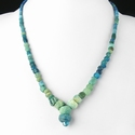 Necklace with Roman turquoise glass and melon beads
