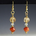 Earrings with Roman glass and carnelian beads