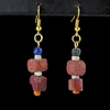 Earrings with Roman red and blue glass and shell beads