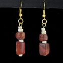 Earrings with Roman red glass, shell and stone beads
