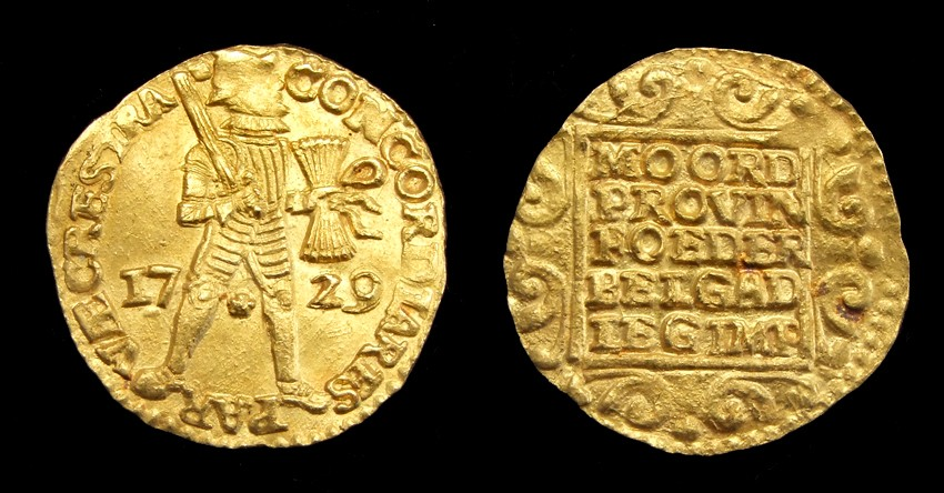 Gold Ducat 1729, retrieved from 't Vliegend Hert