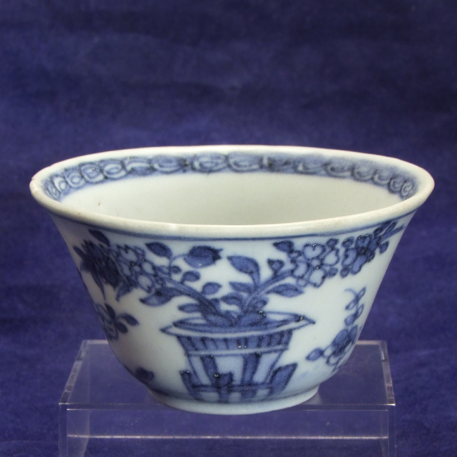 Porcelain blue and white tea bowl from the 'Ca Mau' shipwreck