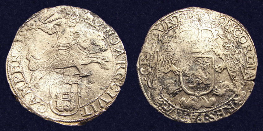 Kampen, Ducaton 1659, recovered from the 'Hollandia' shipwreck